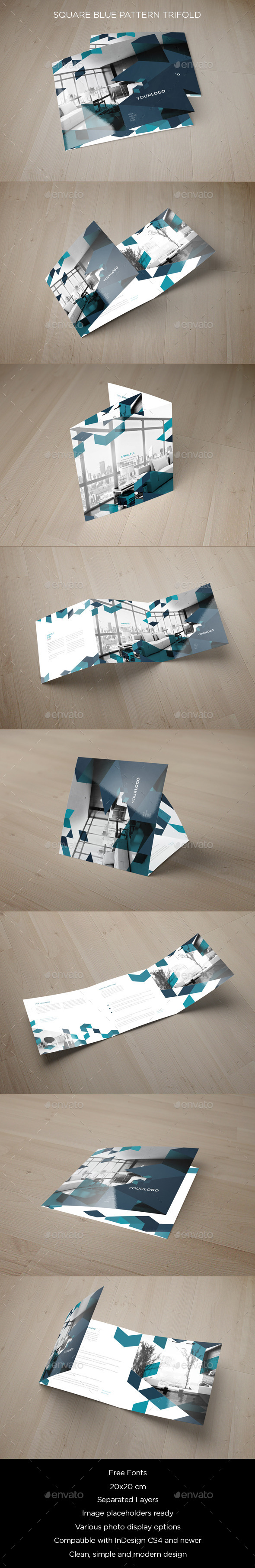 GraphicRiver Square Blue Pattern Trifold 9534879