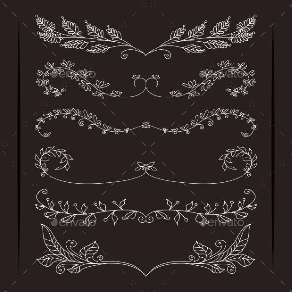 GraphicRiver Set of Calligraphic Foliate Borders 9535084
