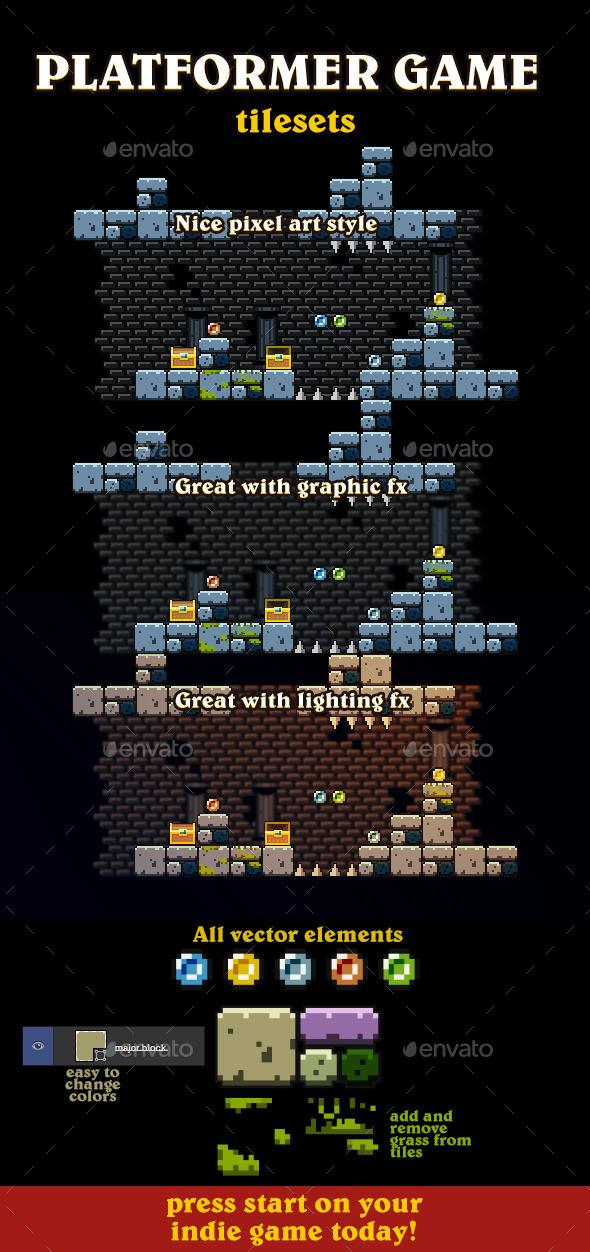 GraphicRiver Vector Pixel Art Tileset 9535110