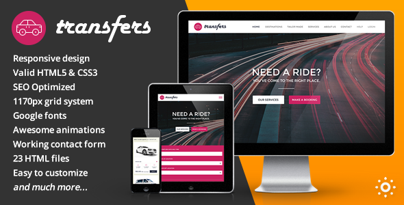 ThemeForest Transfers Transport and Car Hire HTML Template 9366018