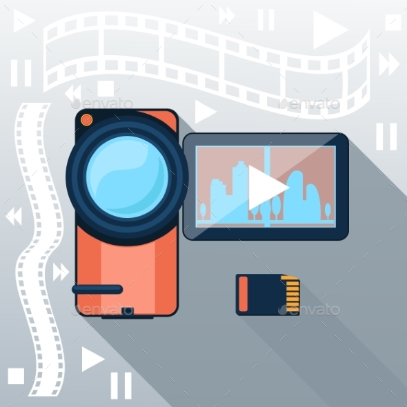 GraphicRiver Video Camera with Cinema Tape on Background 9535250