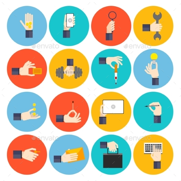 GraphicRiver Hand Holding Objects Icons 9535284