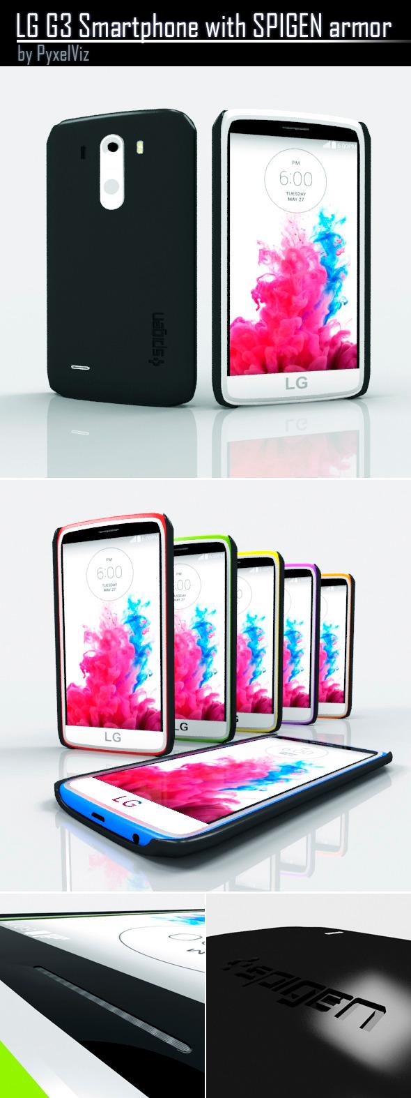 LG G3 Smartphone in SPIGEN armor - 3DOcean Item for Sale