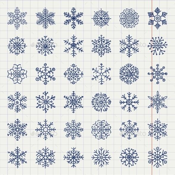 GraphicRiver Winter Snow Flakes Doodles 9535343