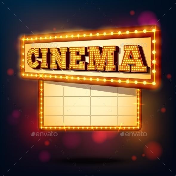 GraphicRiver Retro Cinema Sign 9535344