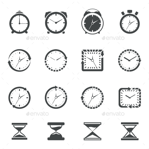 GraphicRiver Clock Icon Black Set 9535360