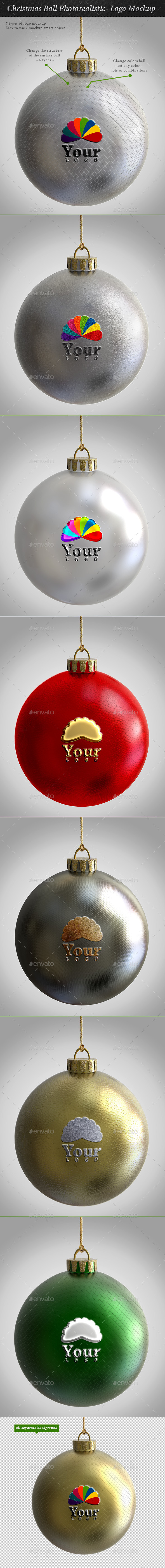 GraphicRiver Christmas Ball Photorealistic- Logo Mockup 9535375