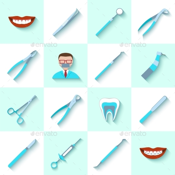 GraphicRiver Dental Instruments Icons Set 9535385
