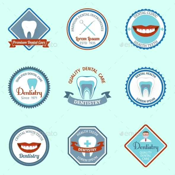 GraphicRiver Dental Emblems Set 9535409