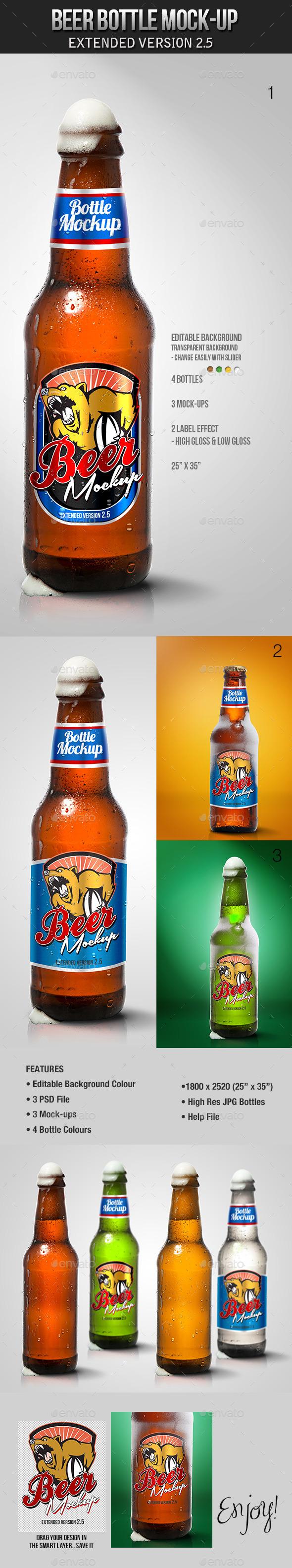 GraphicRiver Beer Bottle Mockup V2.5 9535444