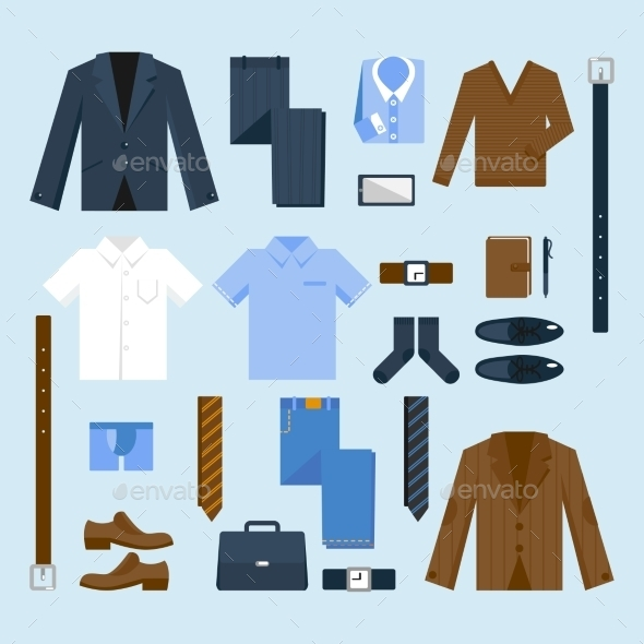 GraphicRiver Businessman Clothes Icons Set 9535445