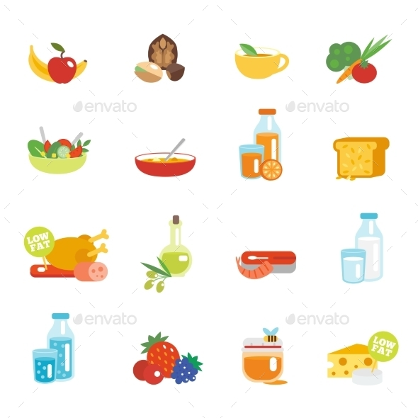 GraphicRiver Healthy Eating Flat Icons 9535450