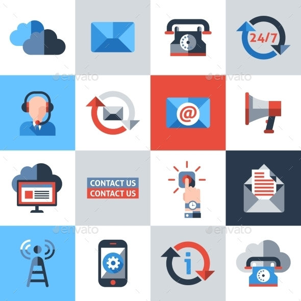 GraphicRiver Contact Us Icons Set 9535542