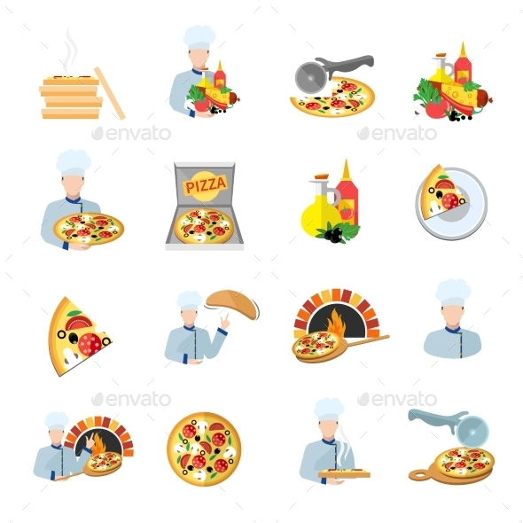 GraphicRiver Pizza Maker Icon Set 9535589