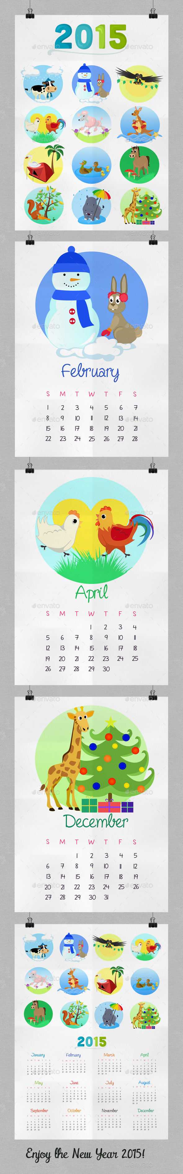 GraphicRiver Children s Calendar With Animals for 2015 9477221