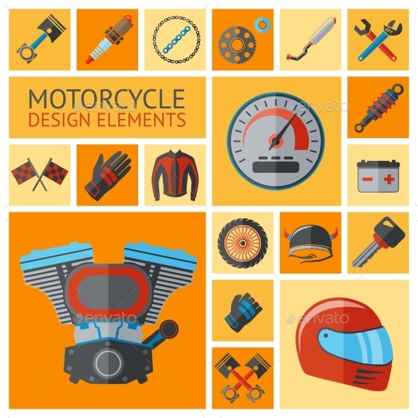 GraphicRiver Motorcycle Parts Set 9535910