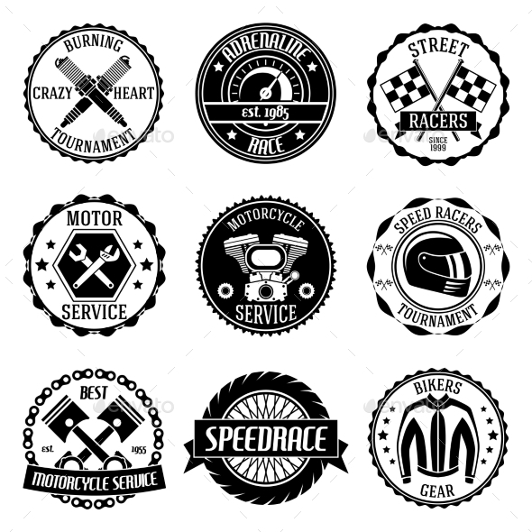 GraphicRiver Motorcycle Racings Emblems 9535916