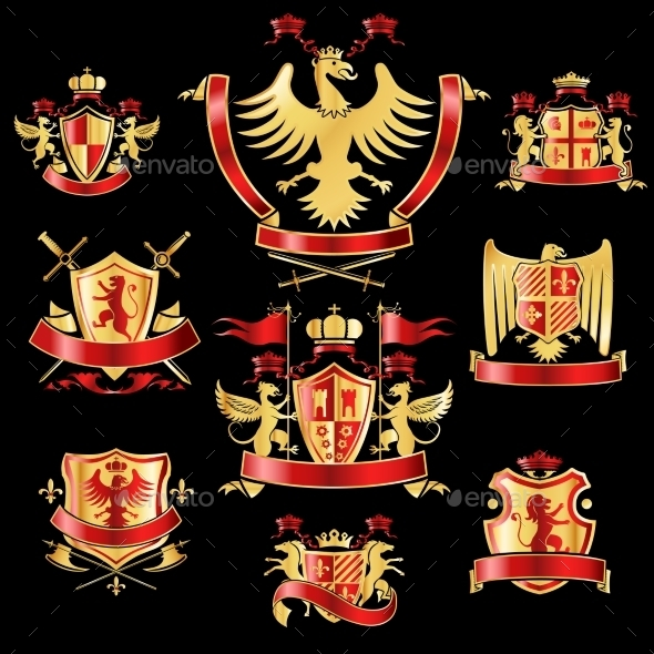GraphicRiver Heraldic Labels Gold and Red 9536057
