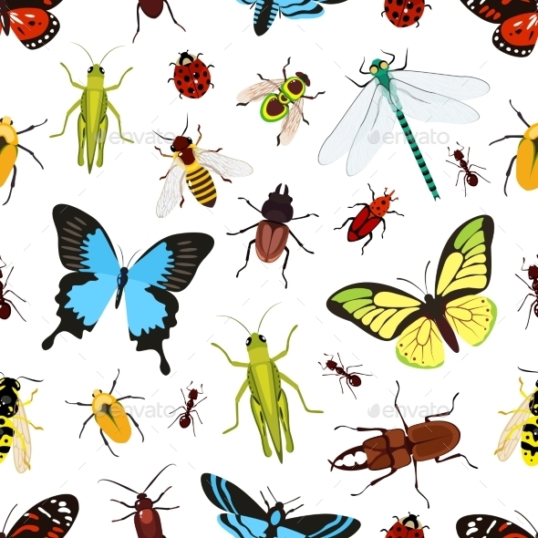 GraphicRiver Insects Seamless Pattern 9536073