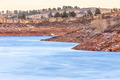 frozen lake with red cliffs - PhotoDune Item for Sale