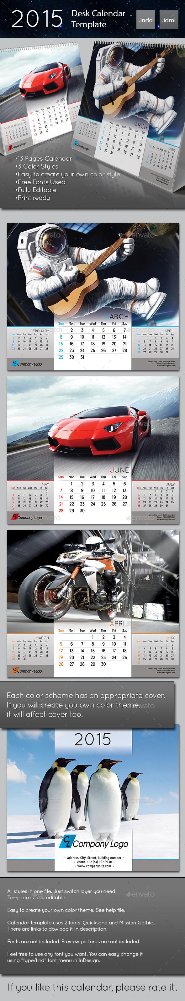 GraphicRiver 2015 Desk Calendar template 9489934