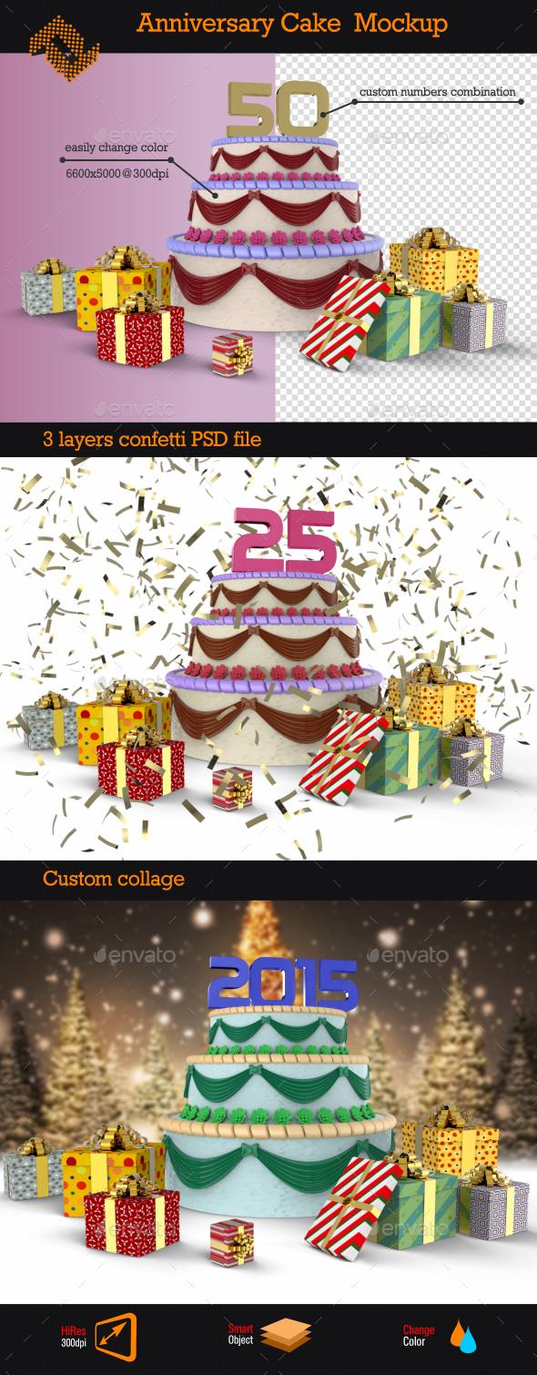 GraphicRiver Anniversary Cake Mockup 9536220