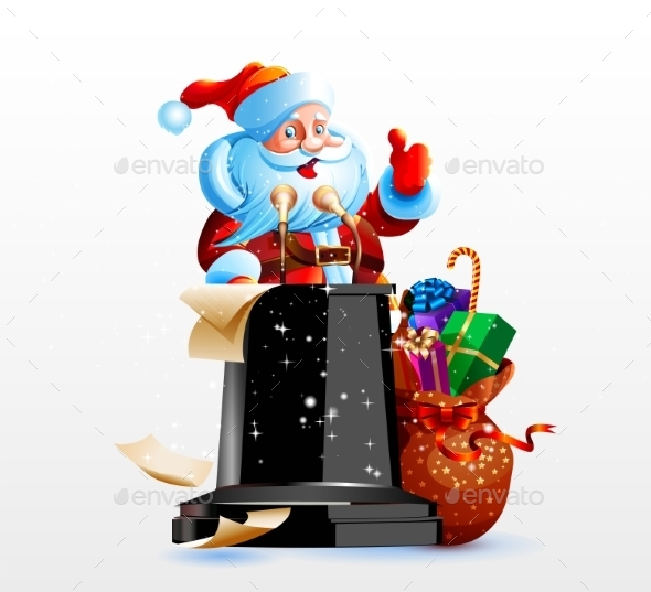 GraphicRiver Santa Claus Standing Behind a Podium 9536227