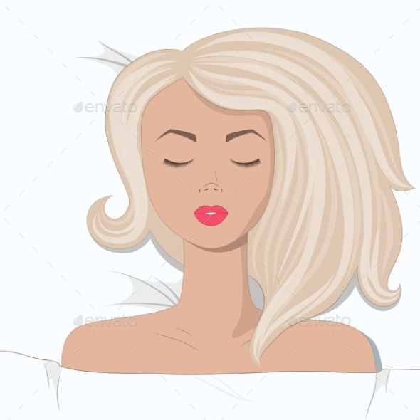 GraphicRiver Young Blonde Girl is Sleepping in the Bed 9536600
