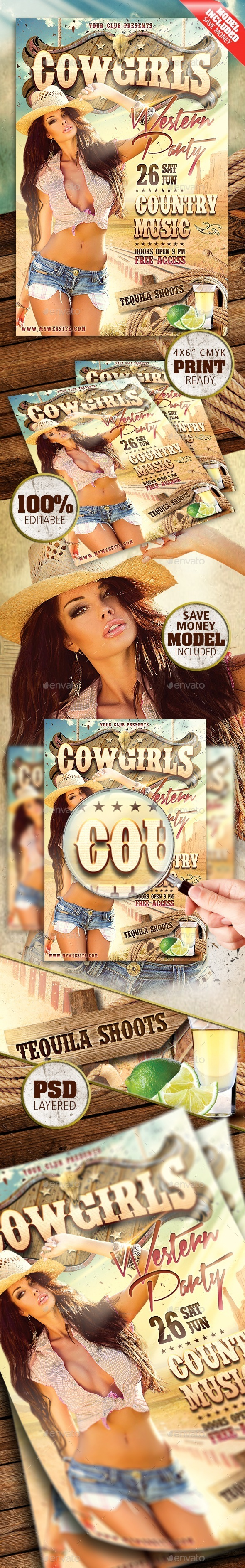 GraphicRiver Cowgirls Western Party 9536641
