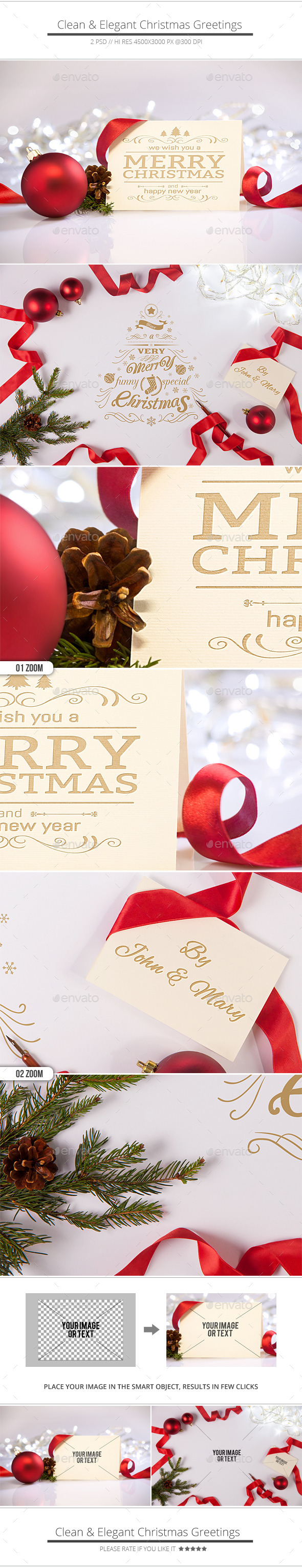 GraphicRiver Clean and Elegant Christmas Greetings Mockups 9536993