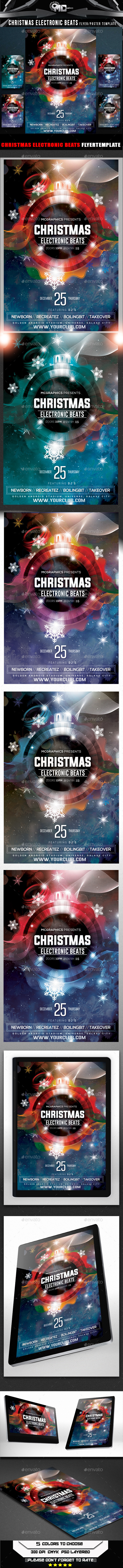 GraphicRiver Christmas Electronic Beats Flyer Template 9537045