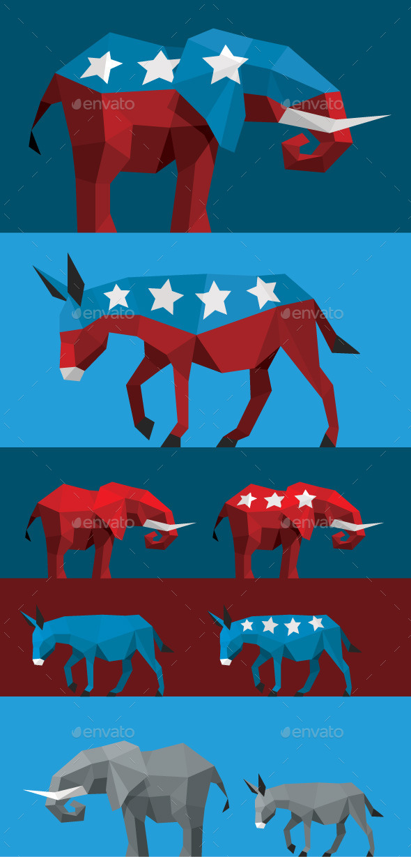 GraphicRiver Geometric Political Elephant and Donkey 9537083