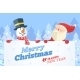 Snowman and Santa with Banner - GraphicRiver Item for Sale