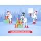Set of Snowmans Christmas Vector Background - GraphicRiver Item for Sale