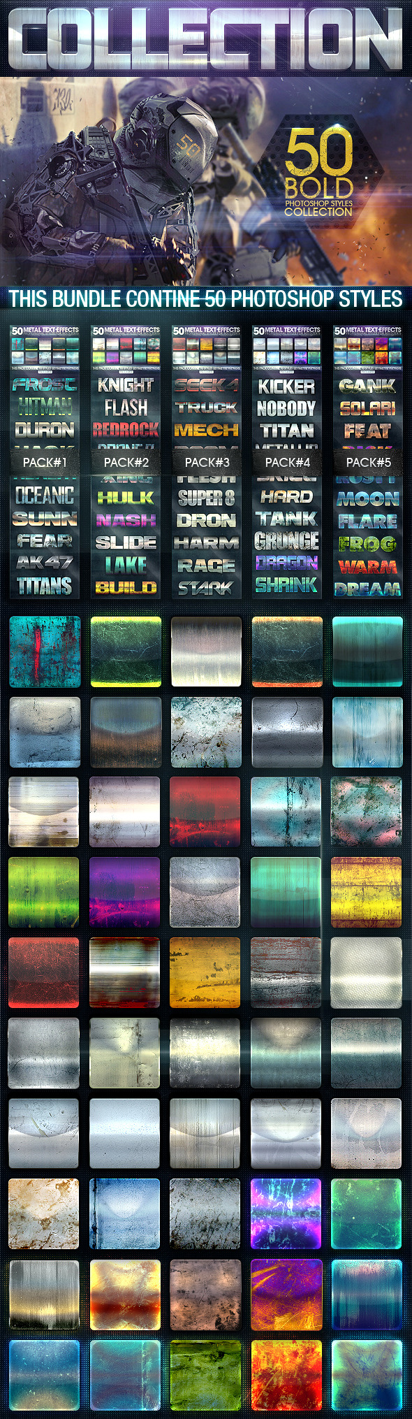 GraphicRiver 50 Metal Text Effects [Bundle V2] 9537360