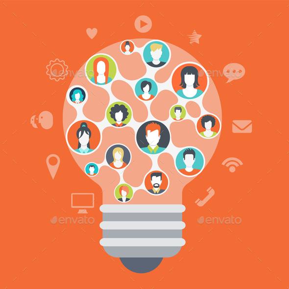 GraphicRiver Social Media Light Bulb Concept 9537600