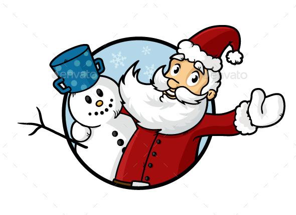 GraphicRiver Santa and Snowman 9537645
