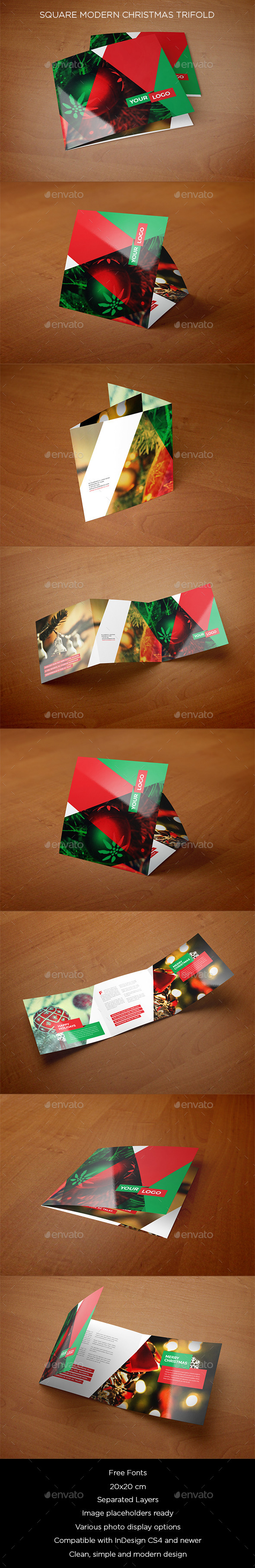 GraphicRiver Square Modern Christmas Trifold 9537694