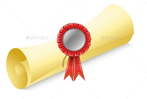 GraphicRiver Rolled Paper with a Red Ribbon 9537714
