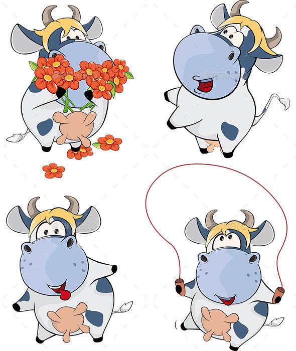 GraphicRiver Set of Cows Cartoon 9538825