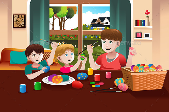 GraphicRiver Kids Painting Easter Eggs 9538871