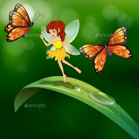 GraphicRiver A Fairy Standing in a Leaf with Butterflies 9538926