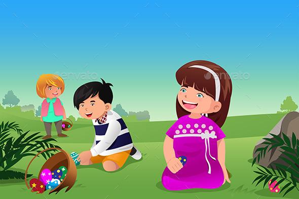GraphicRiver Kids Celebrating Easter 9538939