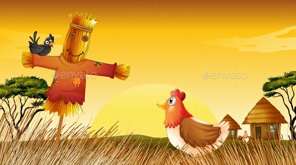GraphicRiver A Chicken with a Scarecrow and a Black Bird 9538954