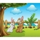 Two Bunnies inside the Fence - GraphicRiver Item for Sale