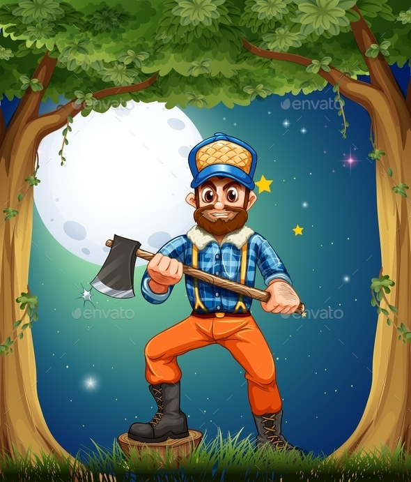 GraphicRiver A Woodman Standing in the Middle of the Trees 9539151