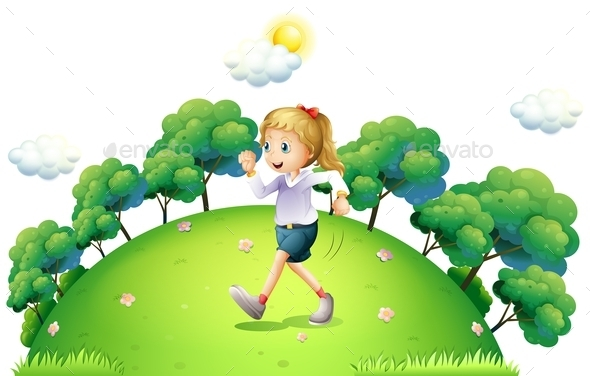 A Girl Running above the Hill