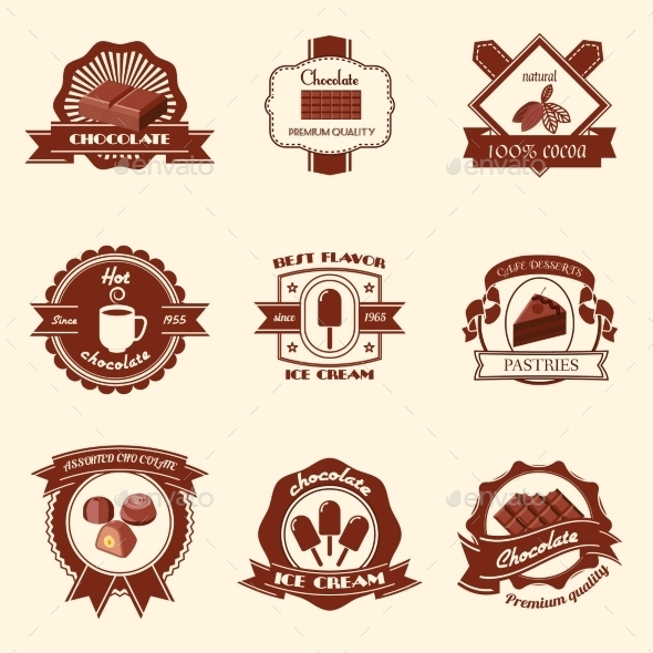 GraphicRiver Chocolate Labels Set 9539267