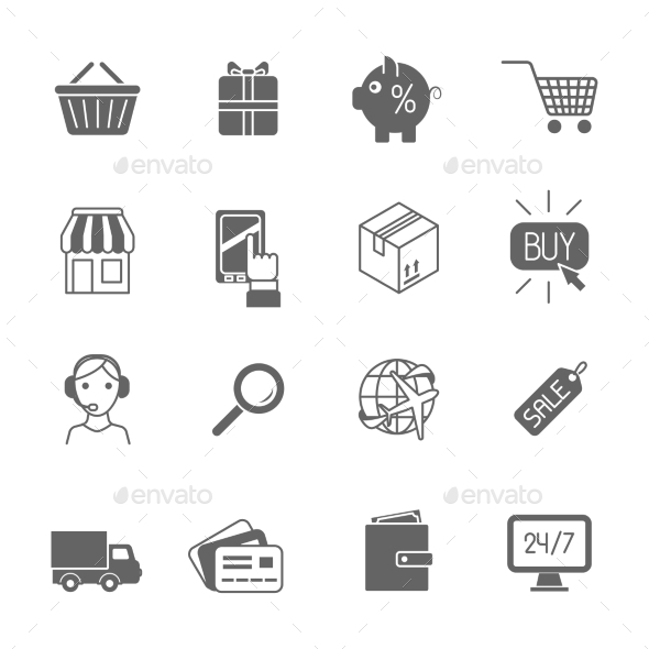 GraphicRiver Shopping E-commerce Icons 9539303