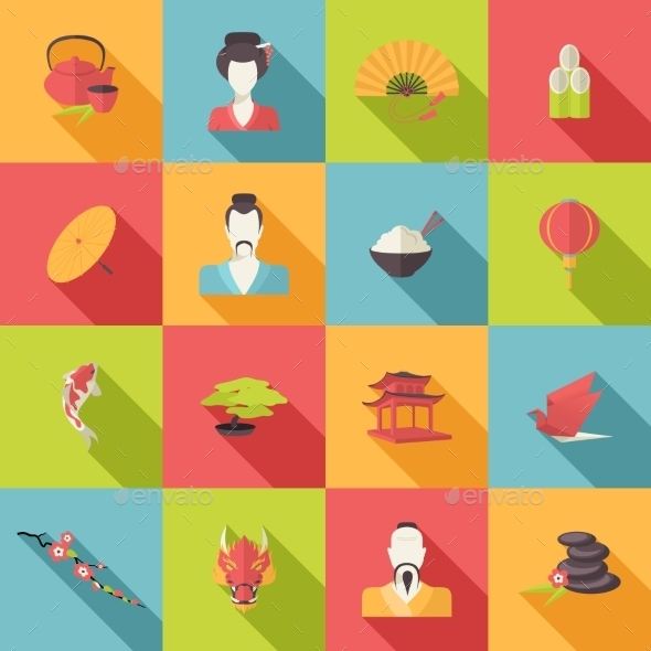GraphicRiver Japan Icons Flat 9539457